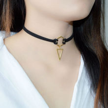 2016 New Trend Hot Fashion Black Leather Choker Necklace Wrap Gold-color Geometry With Triangle Pendant For Women Girls