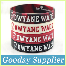 2pcs DWYANE WADE cheap silicone wristband 4colors debossed head men silicone band Glow in the dark silicone bracelets