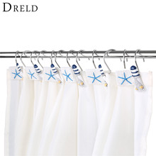 DRELD 12Pcs/set Shower Curtain Hook Drapery Valance Hanger Home Cafe Hotel Decor Hooks Shower Cartoon Lighthouse and Starfish(China)