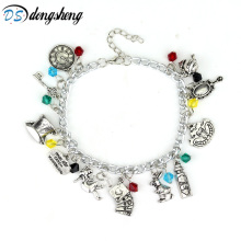 Alice in Wonderland Charm Bracelets&Bangles Fairy Tale Story Rabbit Hat Key Clock Red Crystal Beads Bracelet Fashion Women -25(China)