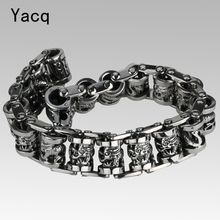 "YACQ Men Dragon Stainless Steel Bracelet 316L Biker Heavy Punk Rock Jewelry Gift for Him Dad Silver Tone 8.5"" GB312 dropshipping(China)"