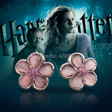 Free Shipping 20pairs/lot Movie Character Hermione Dancing Flower Earrings Wholesale Cat's Eye Stone Earrings For Women Charms