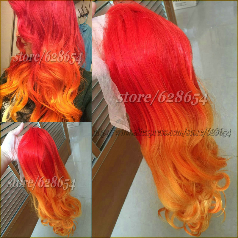 Orange Hair Wig Ombre Red Orange Synthetic Lace Front Wig Heat Resistant Stunning Orange Wig Cosplay Long Parted Wig 180 Density<br><br>Aliexpress