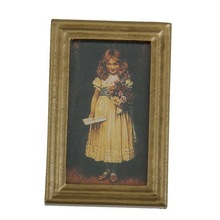 1 Pcs 1:12 Dollhouse Miniature Wall Picture Decoration Resin Frame Cute Girl Hot Sale(China)