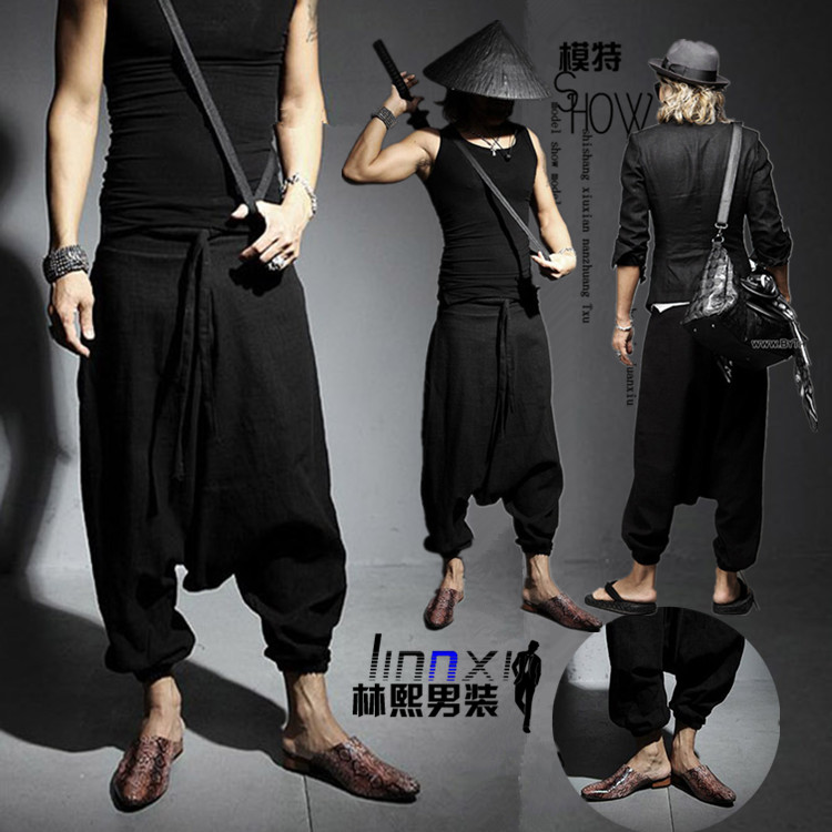 27-44!!Summer culottes male men's clothing personality harem  casual linen bloomers pants