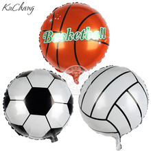 50pcs 45*45cm Football & Basketball & Volleyball Foil Balloons 3 Design Stickers Foot Football ballon P.E Boy/Girl Sports Items