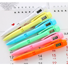 2Pcs / Lot 6 color digital watch Test pen electronic Clock pen Students civil servants Private office Ball point pen