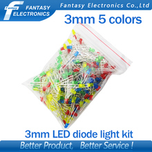 5Colors*20PCS=100PCS 3mm LED diode Light Assorted Kit White Yellow Red Green Blue  component DIY kit new original free shipping