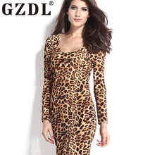 GZDL Sexy Plunge V Neck Club Dresses Vestidos Women's Leopard Bodycon Milk Silk Long Sleeve Stretch Split Pencil Dress CL3246