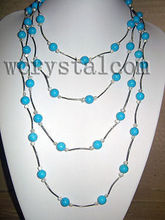 Long White Pearl Blue Turquoise 10mm Necklace 90""
