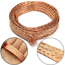 Mayitr New  Pure Copper Flat Braid Cable 1m x 6mm Bare Copper Braid Wire Ground Lead