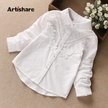 Artishare High Quality Girls Blouses Spring Autumn Lace Flower White Girls School Blouses & Shirt Cotton Kids Girls Top Shirt