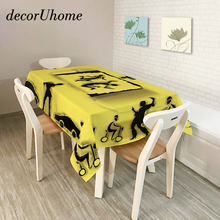 decorUhome Polyester Waterproof Rectangle Tablecloths Doing Sports Music Note Oilproof Table Cloth Home Banquet Table Covers(China)