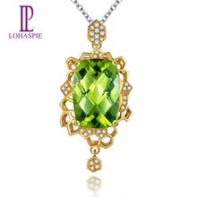 Lohaspie Solid 18K Yellow Gold 6.59 Carat Natural Peridot & Diamond Pendant & Necklace For Women's Gemstone Fine Jewelry