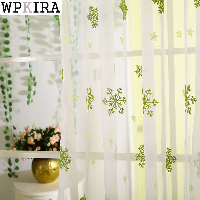 High Quality Embroidered Curtain Bedroom Window Tulle Gauze Green Voile Curtains For Living Room Curtain Finished S204&20(China)