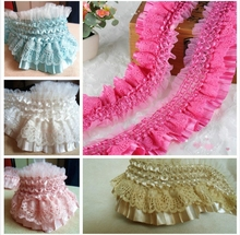 5 M / lot  Multicolor 8cm elastic lace fabric clothes lace trim white plait double fold skirt edge wedding dress DIY accessories