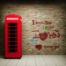 Laeacco Red Telephone Booth Love Graffiti Brick Wall Photography Backgrounds Vinyl Custom Camera Backdrops For Photo Studio(China)