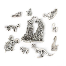 Beadia 52pcs 10 Mixed Plating Ancient Silver Leopard Tiger Horse Kangaroo Deer Fox Monkey Animal Fashion Pendant