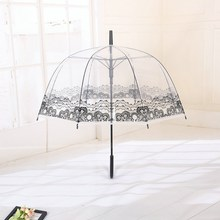 Romantic Long Handle Lace Flower Umbrella Transparent Sunny Rainy Umbrella Bumbershoot Parasol Portable Outdoor Rain Gear