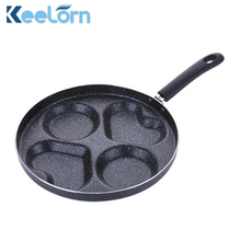 Keelorn 28 Cm Aluminum Non-Stick Frying Pan, Creative Four-Hole Heart Shaped Breakfast Frying Pan Gas Stove Can Be Used(China)