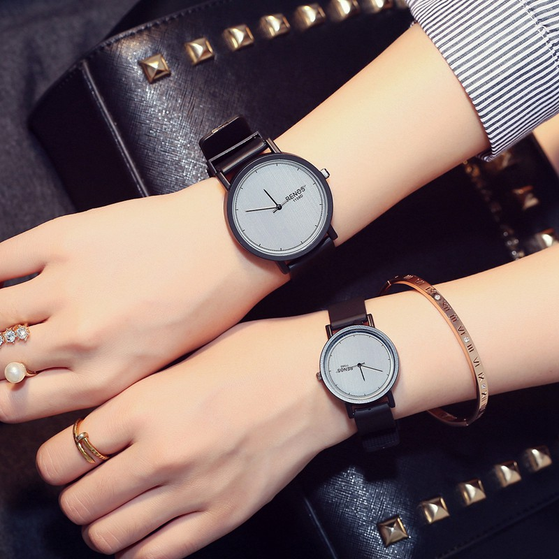 RENOS Quartz Watches Women Men Lovers Couple Fashion Casual Wristwatch PU Band Water Resistant Valentines Day Birthday Gift<br><br>Aliexpress