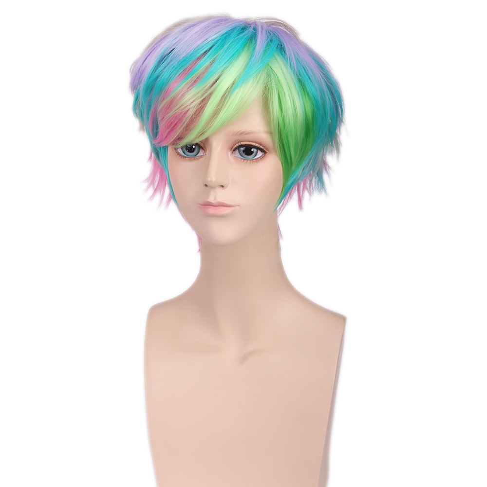 New Hair Style Full Wigs Handsome Harajuku Rainbow Mixed Colors Short Wigs Synthetic Hair for Cosplay Halloween Masquerade<br><br>Aliexpress