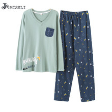 JRMISSLI Pajamas Men Cotton Sleepwea Long sleeves Pyjamas Men Sleep Lounge pajama Set Fashion men's clothing U2117(China)
