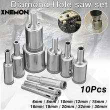 XNEMON 10Pcs Diamond Holesaw 6-30mm Core Drill Bit Set for Porcelain Tile Glass Slate Marble 6 8 10 12 15 16 18 20 22 30mm(China)