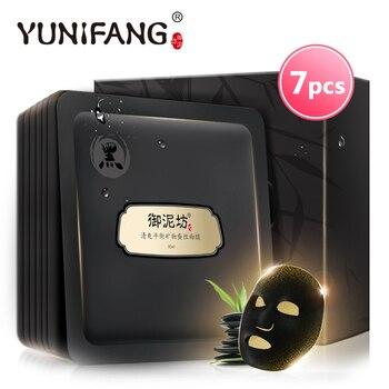 Лицо уход за кожей YUNIFANG глубоко очищающий черная маска для лица минеральная шелковая анти-ствии анти - угорь масло контроль pore-shirink 30 мл * 7 шт.