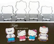 4pcs Cute Cartoon Hello Kitty Cake Mold Metal Stainless Steel Fondant DIY Cookie Cutters Cupcake Cake Decorating Tools