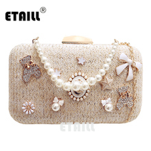 ETAILL New Summer Cute Bow Bear Beaded Straw Shoulder Bag with Pearl Handle Diamond Clutch Evening Bag Banquet Bag Bride Bag