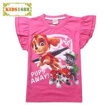 New 2017 Baby Girl Clothes T shirt summer Cartoon Dog pattern toddler Girls T-shirt Brand Short Sleeve Pink Rose Red Top For Boy(China)