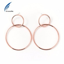 Transna Large Double Hollow Round Earrings 2017 New Geometrical Jewelry Hoop Pendientes Rose Gold/Gold Color Earrings For Women(China)