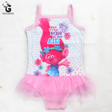 Trolls Girls Clothing Set Swimsuit One Piece Swimwear Solid Bandage Bodysuit Children Beachwear Bathing Suit Kids Swim Bikini