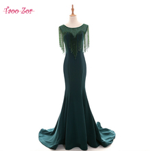 TaooZor Mermaid Tassel Scoop Beaded Long Mother of the Bride Dresses Zip Up Chiffon Satin Trumpet Formal Dress Plus Size(China)