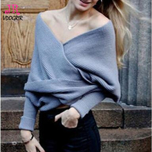 VDOGRIR Grey Criss-cross Sweaters Office Lady Big Turn-down Collar Sexy Batwing Sleeves Short Wool Sweater multifunction Women(China)