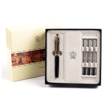Duke High-grade Gift Set Luxury Black and Gold Roller Ball Pen with Blue Gem Metal Ballpoint Pens Christmas Gift Free Shipping