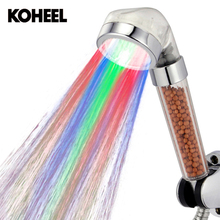 LED Pressurized Temperature SPA Anion Water Saving Big Rain Shower Head Handheld Hold Shower(China)
