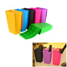 2017 Creative Hanging Bathroom Kitchen Gadget Storage Box Silicone Storage Bag Kitchen Sink Shelving Bucket With Suckers(China)