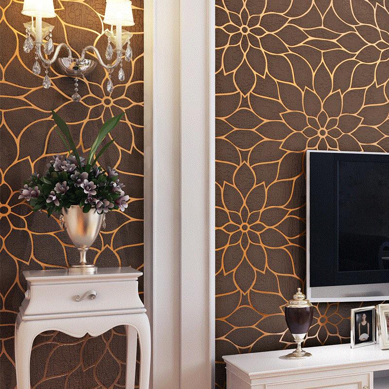 Chinese lotus stereo flocking wallpaper thickening wallpaper living room bedroom tv backdrop restaurant hotel<br>