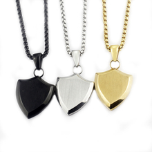 GORGEOUS TALE Punk Polished Shield Pendants Nacklaces Titanium Gold Color Jewelry for Man Protect Me Saint Retro Party Gift(China)