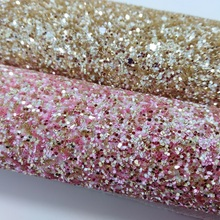2PCS 21X29CM PINK AND GOLD Chunky Glitter Leather Fabric for DIY accessories sofa handbags and shoes 4S12A(China)