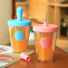 GYBL225 Stir Cup Shake Coffee Mugs with Straw Double Layer Plastic Mug with Straw Coffee Juice Cups Office Home Easy Clean