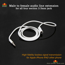 Male To Female Audio Extension Cable Four Section 3.5mm Plug Headset Jack Earphone Cord For Iphone 6 5 4S Ipod Mp3 Samsung S5 S4