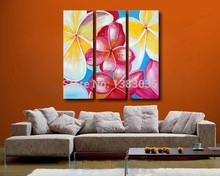 Hand Painted 3 Piece Plumeria Rubra Wall Art Modern Flower Decorative Group Painting On Canvas Abstract Oil Picture Set