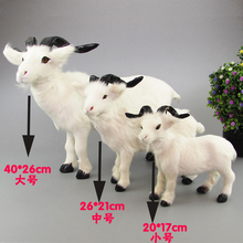 white goat real fur sheep model one lot / 3 pieces ornament scene layout prop farm decoration gift h1282(China)