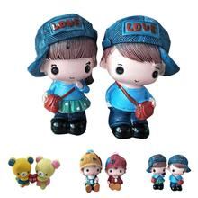 2Pcs sweety boy girls lovers couple figurines fairy home office table resin crafts decoration car craft accessories Girl Gift 3