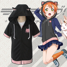 Love Live! Final LoveLive 6th Cosplay Costume Rin Hoshizora Short Sleeve Hooded Hoodie Cat Ears Coat Sixz S-XXL