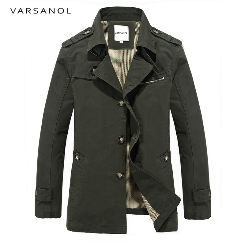 Varsanol Brand Jackets Men Autumn Casual Coats Long Sleeve Jacket Overcoat Turn Collar Top Plus Size Outwears New Arrivals