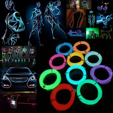 1M/2M/3M/4M/5M EL Wire Tube Rope Battery Powered Flexible Neon Cold Light Car Party Wedding Decor With Controller Free Shipping